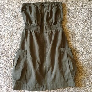 Strapless tube top army green dress